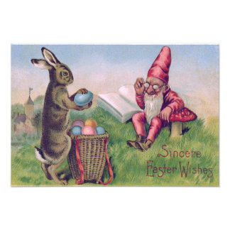 Easter Bunny Basket Colored Egg Gnome Photograph