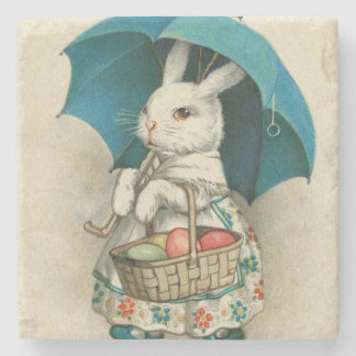 Easter Bunny Basket Colored Egg Umbrella Stone Coaster