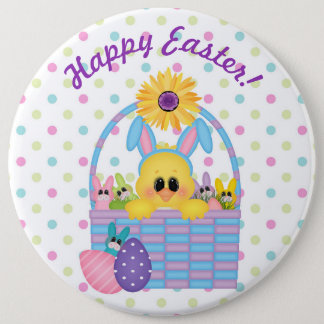 Easter Bunny Basket Dot Colossal Button