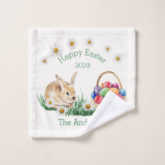 Easter bunny, basket with colorful eggs, daisy wash cloth