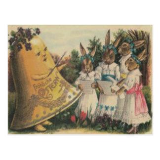 Easter Bunny Bell Lily Daisy Choir Postcard