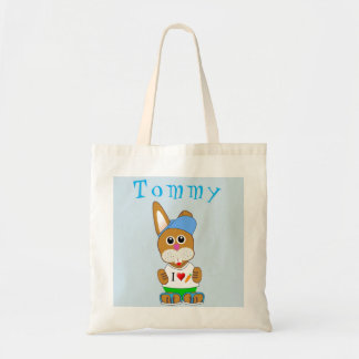 Easter Bunny Boy Name Egg Hunt Bag Tote