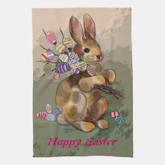easter bunny brings eggs kitchen towel