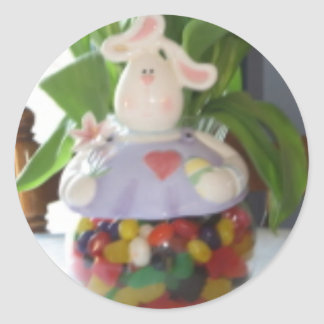 Easter Bunny Candy Jar Classic Round Sticker