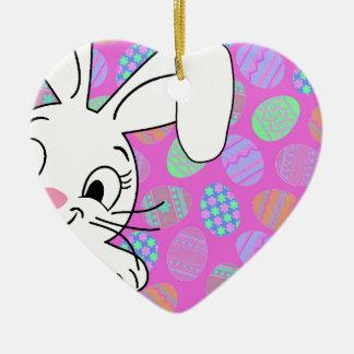 Easter bunny ceramic ornament