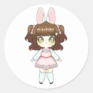 Easter Bunny Chibi Girl Classic Round Sticker