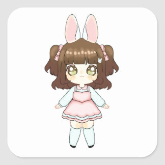 Easter Bunny Chibi Girl Square Sticker