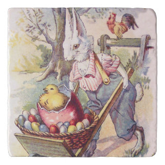 Easter Bunny Chick Colored Egg Trivet