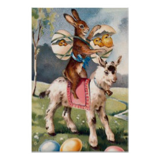 Easter Bunny Chick Colored Painted Egg Goat Poster