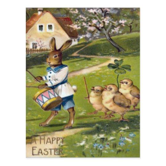 Easter Bunny Chick Drum Shamrock Farm Postcard