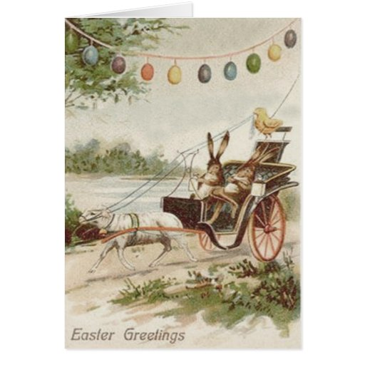 Easter Bunny Chick Egg Lamb Carriage Card