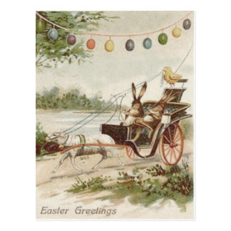 Easter Bunny Chick Egg Lamb Carriage Post Card