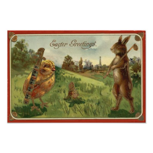 Easter Bunny Chick Golf Caddy Colored Egg Art Photo