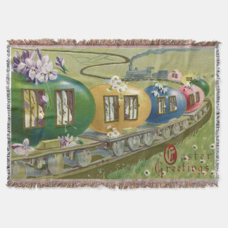 Easter Bunny Colored Egg Cage Train Throw