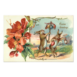 Easter Bunny Colored Egg Red Flower Photo