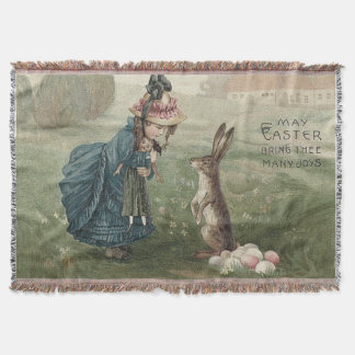 Easter Bunny Colored Eggs Girl Doll Landscape Throw Blanket