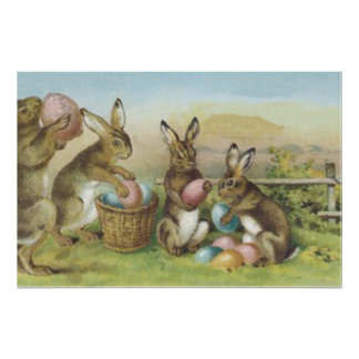 Easter Bunny Colored Painted Egg Field Poster