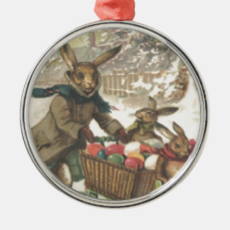 Easter Bunny Colored Painted Egg Sled Snow Silver-Colored Round Ornament