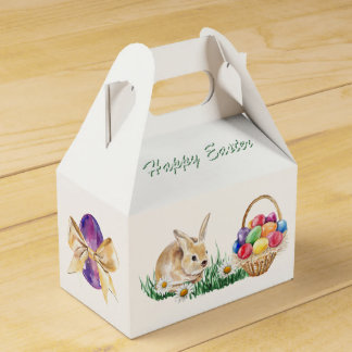 Easter bunny, colorful eggs and daisy favor box