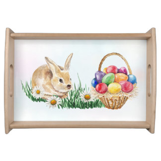 Easter bunny, colorful eggs and daisy serving tray