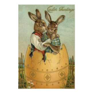 Easter Bunny Couple Colored Painted Egg Flower Photographic Print