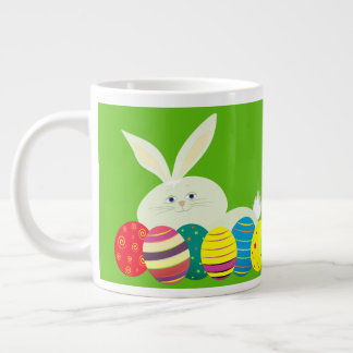 Easter Bunny Cute White Cartoon Colorful Bright Large Coffee Mug