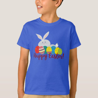 Easter Bunny Cute White Cartoon Colorful Eggs T-Shirt
