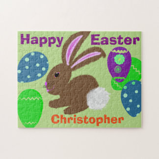 Easter Bunny Decorated Eggs Personalize NAME Jigsaw Puzzle