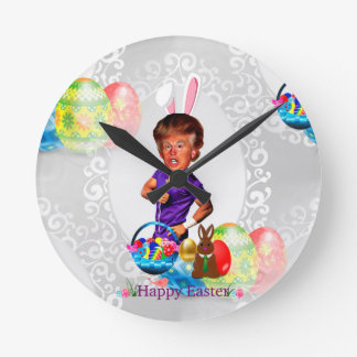 easter bunny donald trump round clock