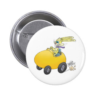 Easter bunny driving an Easter egg!.jpg 2 Inch Round Button