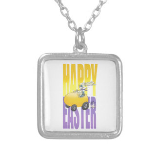 Easter bunny driving an egg. silver plated necklace