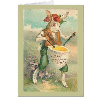 Easter Bunny Drummer Vintage Landscape Card