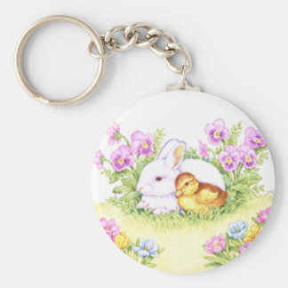 Easter Bunny, Duckling and Flowers Basic Round Button Keychain