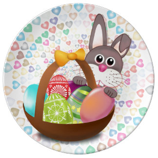 EASTER BUNNY , EASTER EGGS, HAPPY PORCELAIN PLATE