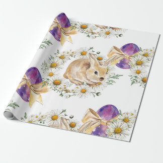 Easter Bunny, egg and daisy Wrapping Paper