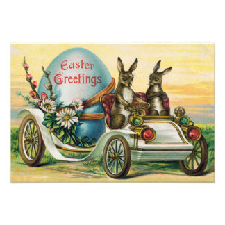 Easter Bunny Egg Car Daisy Photo Print