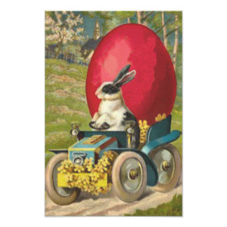 Easter Bunny Egg Car Landscape Photo Art