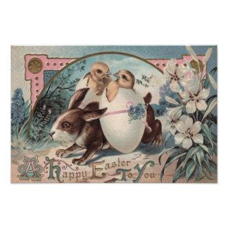 Easter Bunny Egg Chick Flower Photo Print