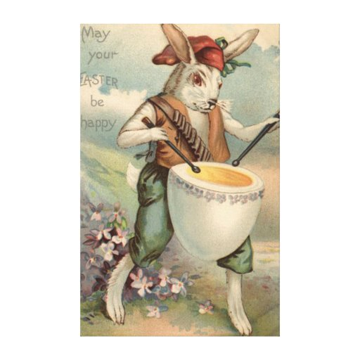 Easter Bunny Egg Drum Drummer Flower Gallery Wrapped Canvas