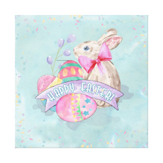 Easter Bunny, Eggs and Confetti ID377 Canvas Print