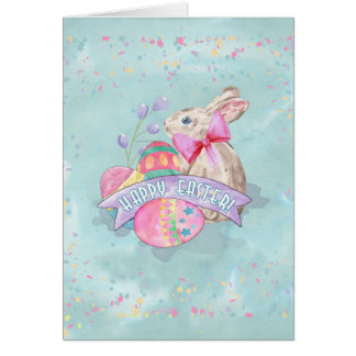 Easter Bunny, Eggs and Confetti ID377 Card