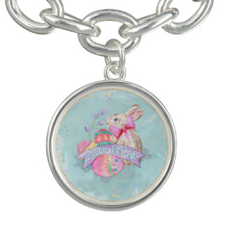 Easter Bunny, Eggs and Confetti ID377 Charm Bracelets