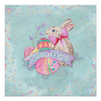 Easter Bunny, Eggs and Confetti ID377 Perfect Poster