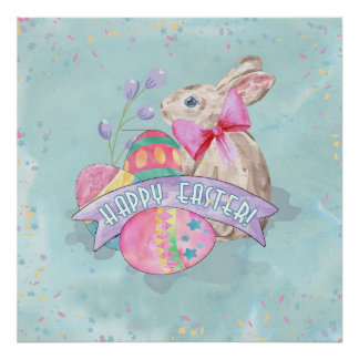 Easter Bunny, Eggs and Confetti ID377 Poster