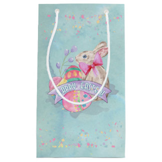 Easter Bunny, Eggs and Confetti ID377 Small Gift Bag
