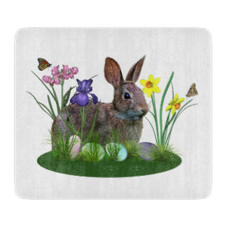 Easter Bunny, Eggs, and Spring Flowers Cutting Board