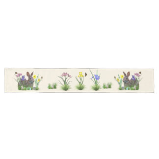 Easter Bunny, Eggs, and Spring Flowers Long Table Runner