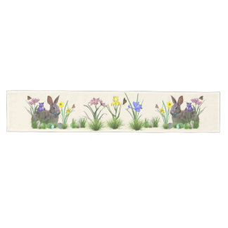 Easter Bunny, Eggs, and Spring Flowers Medium Table Runner