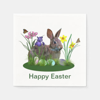 Easter Bunny, Eggs, and Spring Flowers Paper Napkins