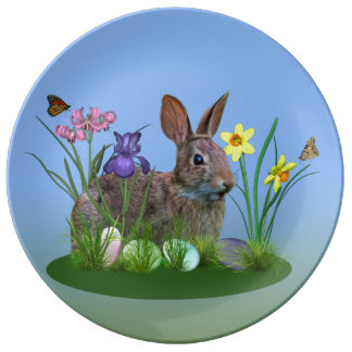 Easter Bunny, Eggs, and Spring Flowers Porcelain Plates